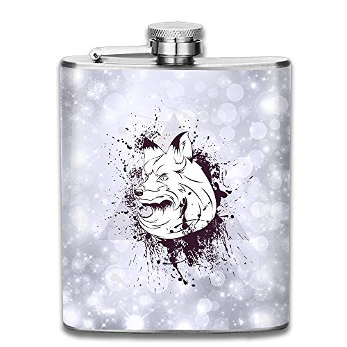 Abstract Fox Animal Stainless Steel Liquor Flagon Retro Pocket Flask\Stainless Steel Travel Flask Great Little Gift,Safe And Nontoxic -