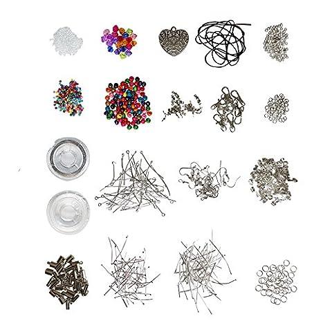 Brillant Kit de démarrage de qualité pour la création de bijoux – Apprêts, perles, fils, fils câblé, accessoires en plaqué argent par Kurtzy TM