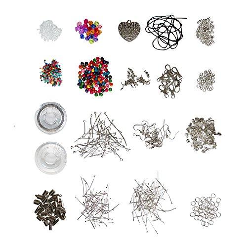 Tolles Hochwertiges Set zur Schmuckherstellung - Metallelemente, Kugeln, Kordeln, Schmuckdraht, Versilberte Accessoires von Kurtzy TM