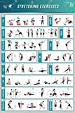 Stretching Übungsstoff Canvas Poster Bodybuilding Guide Männer Mädchen Fitness Zitate Motivational Inspiration Gym Chart How to Stretch Specific Muscles for your Workout Training Routine 35.43