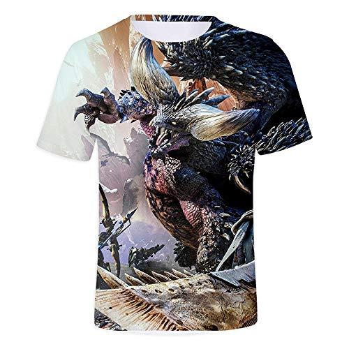 Zhudx Herren T-Shirts mit Rundhalsausschnitt Freizeithemd Atmungsaktiv Drucken Kurzarm Slim Deodorant-Technologie Top Tee Monster Hunter World Cat