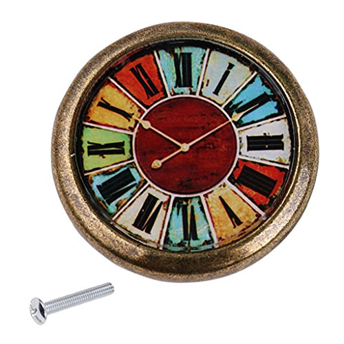 Poignée de Traction Bouton de Porte pour Armoire Tiroir Vintage Motif Horloge - #12