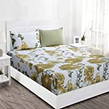 Maspar Superfine 210 TC Cotton King Bedsheet with 2 Pillow Covers - Floral, Yellow