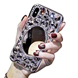 Coque Diamant Miroir iPhone 7 8,LCHDA Coque iPhone 7 8 Strass Diamant 3D Bling Bling Brillant Paillette Transparente Silicone Antichoc Étui Housse Couverture pour Femme Fille Ado