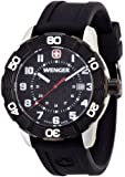 Wenger Roadster Men's Quartz Watch with Black Dial Analogue Display and Black Silicone Strap 010851105