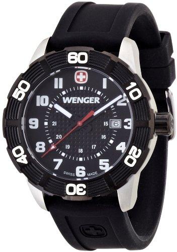 Wenger Roadster 01.0851.105 - Reloj analógico de cuarzo para hombre, correa de silicona color negro (agujas luminiscentes)