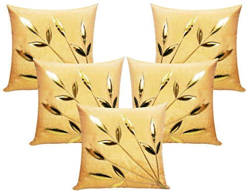 Leaves Patch Beige Cushion Covers 30x30 Cms (Set of 5)