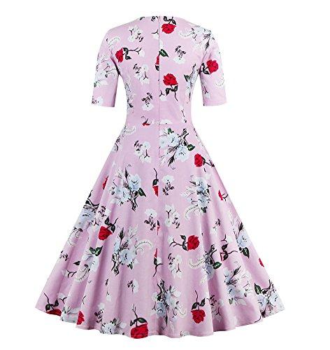 U8Vision Damen Elegant 1/2-Arm Blumenkleid Rockabilly Kleid 1950er Cocktailkleider Party Kleid Festliche Kleider Gr.S-XXXXL Pink