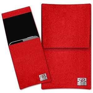 SIMON PIKE Hülle Handytasche Sidney 1 rot für Apple iPhone 5S 5C 5 aus Filz