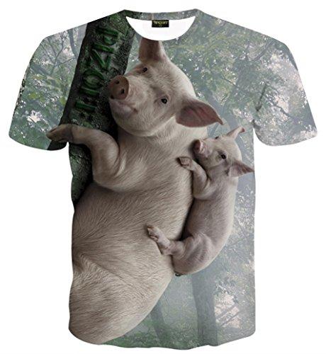 Schmale Passform T Shirts mit Karikatur Katze 3D Druckmuster Schweine AL067-17-XXL ()