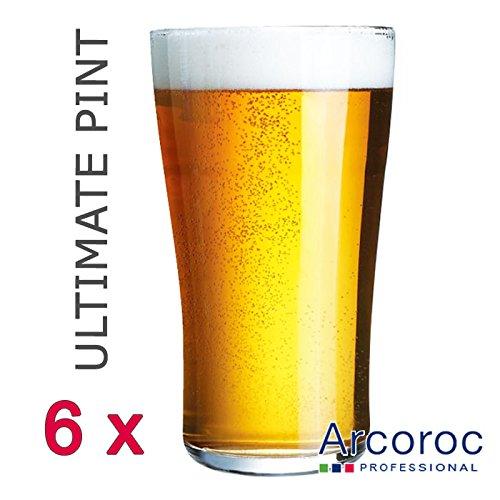 Arcoroc ARC G8563 Ultimate Pint Becher, Bierglas, 570 ml, Glas, transparent, 6 Stück