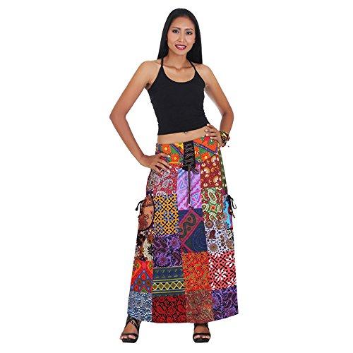 Langer Hippie Batik Patchwork Gypsy Zigeuner Rock (Zigeuner Rock Kleidung)