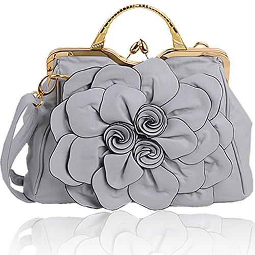 KAXIDY Handtasche Damentasche Tasche Henkeltasche PU Leder Damentasche Tasche Henkeltasche (Rose-Rot) Grau