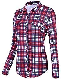 Urban GoCo Camisas Clásica de Mangas Largas y de Tartan con Botones Abajo para Mujeres