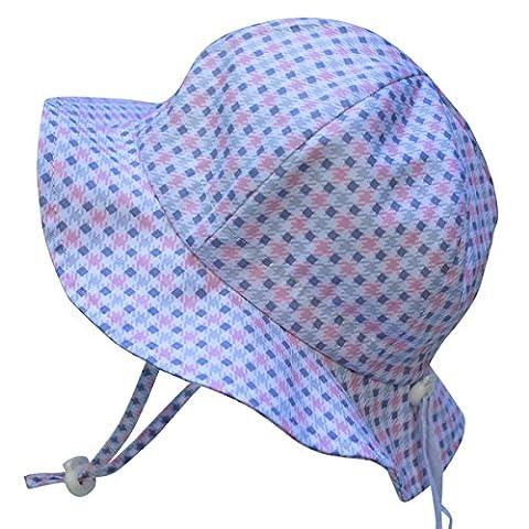 Chapeau contre le soleil pour les enfants avec mentonnière, cordon d'ajustement de la taille de la tête, respirant , FPS de 50+ (L: 2-12Ans, Plaid rose