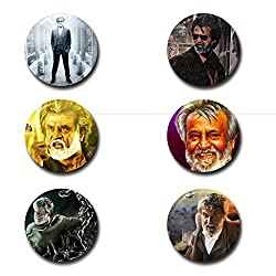 Capturing Happiness Multicolor 5.8cm Kabali (Basha - Rajini) Badge Pack of 6
