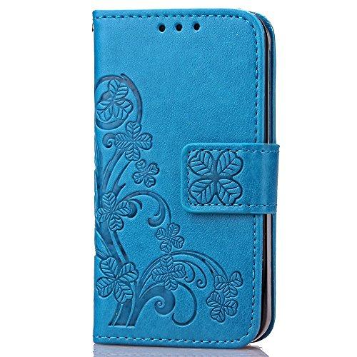 iPhone Case Cover Mappen-Kasten 2 in 1 PU-lederner Folio-schützender Shell-magnetischer abnehmbarer TPU innere rückseitige Abdeckung mit Karten-Schlitzen u. Handgelenk-Bügel für iPhone 4S ( Color : Li Blue