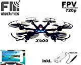 fm-electrics MJX X600w - Wifi FPV-Cam HD Hexacopter mit 300 m Reichweite, Headless Mode und One Key Return, Sonderedition, Looping Funktion, C4010 W-Lan Kamera