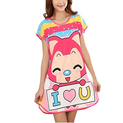 Cute Cartoon femmes pois Sleepshirt Pantalons de pyjama à manches courtes Blanc - 1