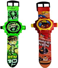 AQUARAS Kid's Ben 10 and Angry Bird Projector Watch, 24 Images (Multicolour) - Pack of 2