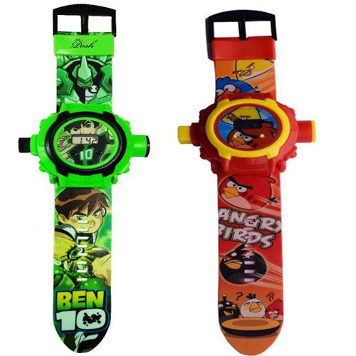 combo Ben 10 and angry bird Projector Watch For Kids (24 Images) pack of 2