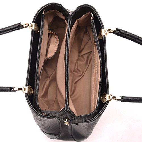 Frauen PU-Leder Handtasche Fashion Stitching Traf Die Farbe Schultertasche Für Damen Top-Griff Taschen White