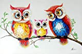 Kunst & Ambiente - Eulenfamilie – Eulengemälde – Martin Klein – Vogelbild – Eulenbild - Modernes Gemälde - Eulen Wandbild - Tier Leinwand - Eule - Wandbild