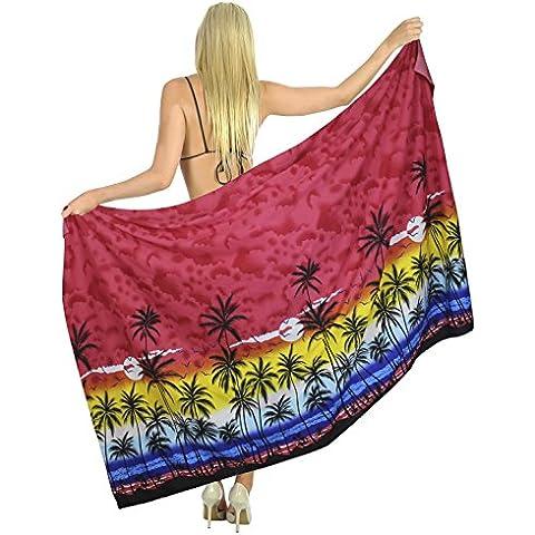 La Leela signore Palma hawaiano bikini del Beachwear del costume da bagno gonna spacco avvolgere coprire abito pareo