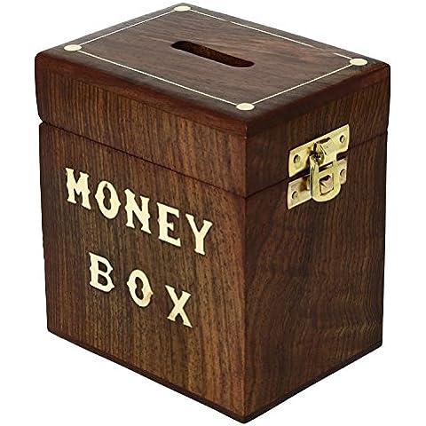 Caja de dinero seguro - las cajas de ahorros talla de madera hechos a mano - alcancía indio caja de dinero de madera -12.7 x 11,4 x 8,9 cm