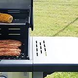 Bruzzzler 2 Flammen-Gasgrill, Grillstation mit 2 Heizzonen für individuelle stufenlose Temperaturregelung, inklusive Warmhalterost, Farbe: schwarz-silber - 2