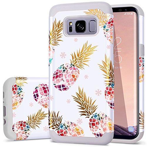 Fingic Samsung S8Plus Fall, S8Plus Case Ananas, Floral Ananas Ultra Slim Schutzhülle Hard PC Weiches Gummi Kratzfest stoßfest Schutzhülle für Samsung S8+, T059-02 Grey -