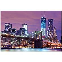 Cuadro de ciudad moderno lila de lienzo para salón de 120 x 80 cm Iris - Lola Derek