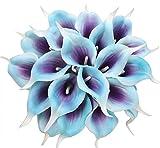 Xiuer - Bouquet artificiel en latex avec 20 lys calla - Aspect réaliste - Pour décoration intérieure