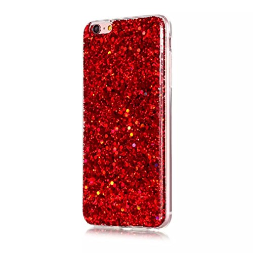 Vandot 1X Soft TPU Silikon Bing Hülle für Iphone 6 Plus / 6S Plus 5.5 Zoll Matt Dünn Schutzhülle Fit Etui Tasche Shell Protection Strass Elegante Slim Case Shinning Protective Kristall Crystal Luxus C Sequins Rot