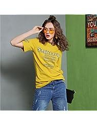 Heart&M de las mujeres de cuello redondo suéter de la corto manga floja ocasional de impresión de las letras camiseta tops . xl . yellow
