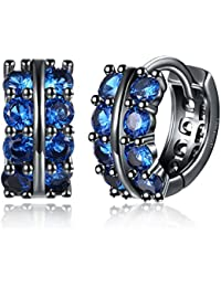Yellow Chimes A5 Grade Blue Crystal Black Gun Plated Clip On Earrings For Women & Girls