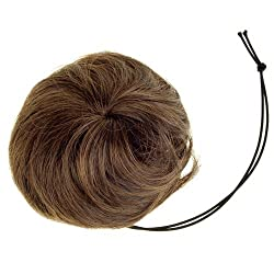 SODIAL(R)Woman Hairpiece Hair Bun Wig Topknot Wigs Extensions - Light Brown