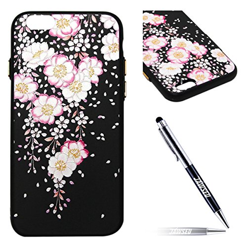 "iPhone 6 Custodia, iPhone 6S Cover Nero, JAWSEU iPhone 6/6S [4.7""] Protezione Case Cassa Gomma Morbida Gel Silicone Custodia per iPhone 6 Cover Protectiva Bumper per iPhone 6S Coperture Flessibile Lis #4 Floreale"