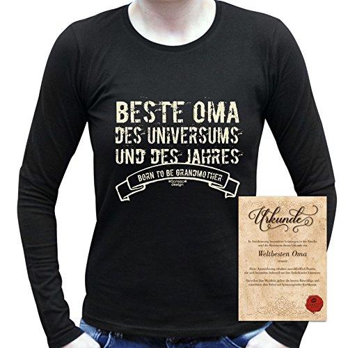 bequemes T-Shirt für Omi, Sprüche Motiv Beste Oma des Universums Geschenkidee, Muttertag Geburtstagsgeschenk Frauen Damen Farbe: schwarz Schwarz