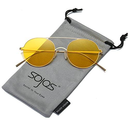 SojoS Schick Retro Metallbrücken Runde Verspiegelt Sonnenbrille Damen Herren SJ1068 mit Gold Rahmen/Gelb Linse