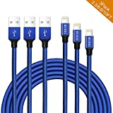 BUREI Lightning Kabel - BUREI 1M/2M/3M 3Pack Sehr Langes Langlebiges Geflochtenes Ladekabel für iPhone X / 8 / 8 Plus /