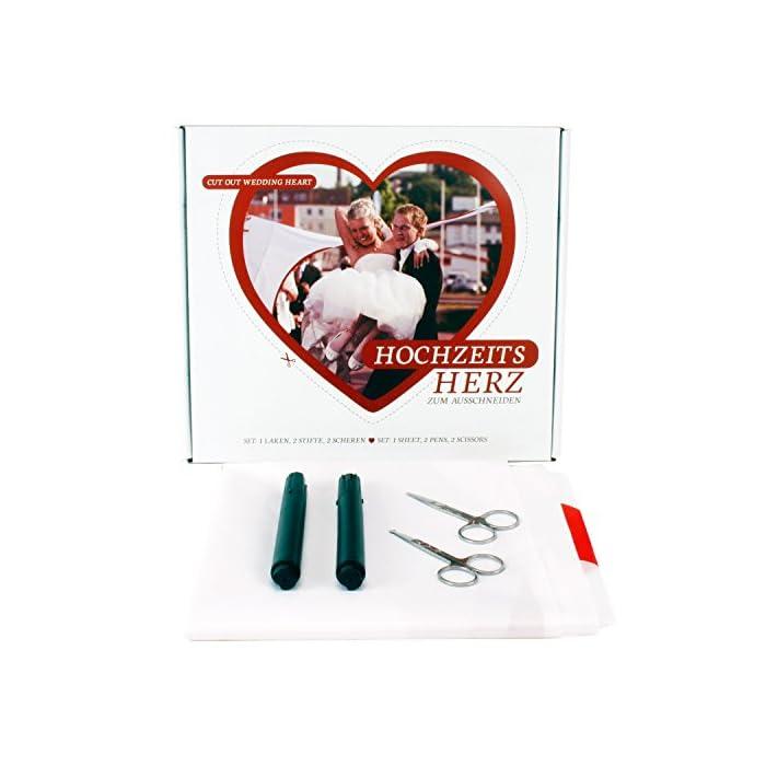 Roomando Hochzeitsherz Herz zum Ausschneiden Laken 2 m x 1,80 m Hochzeitsbrauch Komplettset inkl. 2X Schere + 2X Stift