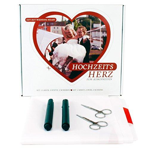 um Ausschneiden Laken 2 x 1,80 m Hochzeitsbrauch Komplettset (Herz Zum Ausschneiden)