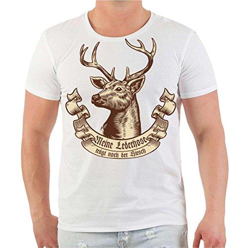 Männer und Herren T-Shirt Meine Lederhose trägt noch der Hirsch Größe S - 8XL Körperbetont weiß