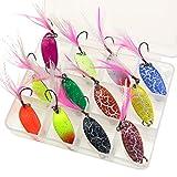 HETTO Spoons Forelle Set Forellenblinker Einzelhaken Trout Spoons Angeln Set Blinker Forelle mit Box