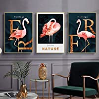 Geometric Flamingo Rose Gold Animals 90x30cm Treble Leinwand Kunstdruck Box gerahmte Bild Wand hangen Bereit Zum Aufhangen 00B -TR31-LO-A Bold Bloc Design Canvas Art Print RC-8997