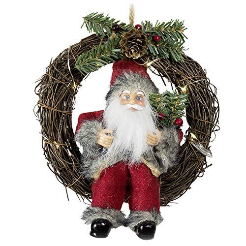n Türhänger Fensterdekoration mit LED im Kranz Türdeko Dekoration Nikolaus Santa Claus zum Aufhängen Deko 30cm (Durchmesser) ()