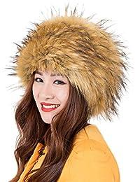 Landove Cappello Pelliccia Sintetica Rotondo Cappellini Invernali Donna  Elegante Comodo Moda Russia Cappello Cosacco di Ecopelliccia 1e0726d25c9