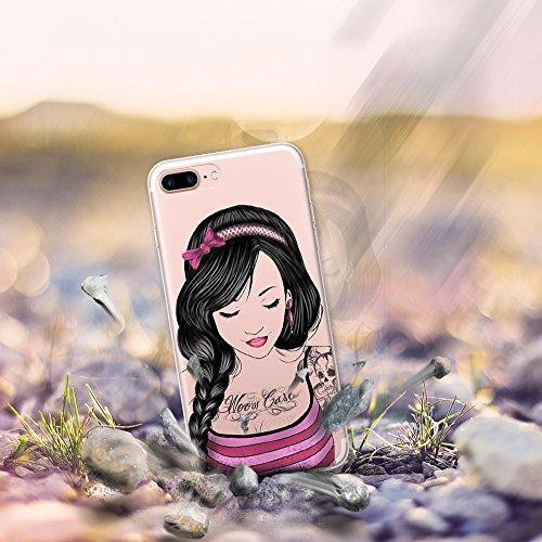iPhone 7 Plus Hülle, WoowCase® [ Hybrid ] Handyhülle PC + Silikon für [ iPhone 7 Plus ] Französische Bulldogge Tier Mehrfarbige Design Handytasche Handy Cover Case Schutzhülle - Transparent Hybrid Hülle iPhone 7 Plus H0004
