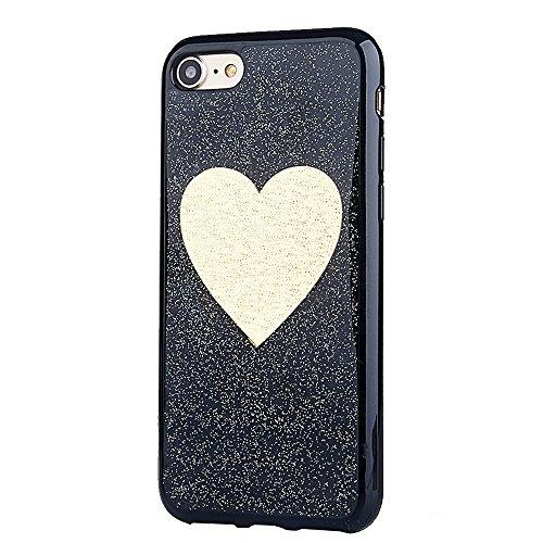 Silikonhülle für iPhone 6s, Black Crystal Design CLTPY iPhone 6 Handytasche Kreativ Ultrathin Glitzer Glänzend Liebe Motiv Softcase für Apple iPhone 6/6s + 1 x Stift - Silber Herz Gold Herz